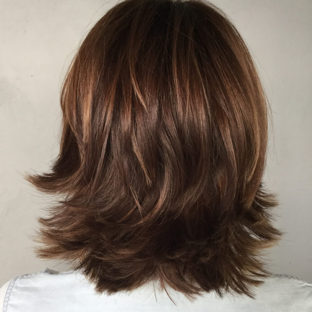 51 Stunning Medium Length Layered Haircuts & Hairstyles For 2019 With Regard To Current Layered And Outward Feathered Bob Hairstyles With Bangs (View 8 of 20)