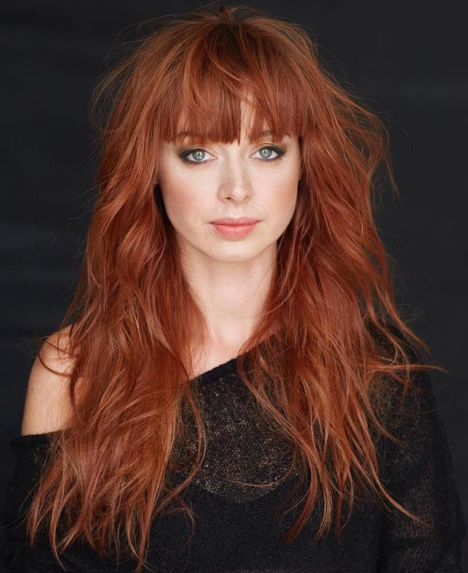 60 Lovely Long Shag Haircuts For Effortless Stylish Looks Intended For Best And Newest Medium Length Red Hairstyles With Fringes (View 3 of 20)