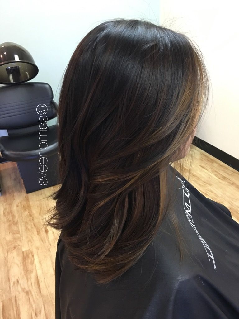 Balayage For Asian Hair // Black To Brown Ombre For Dark In Fashionable Soft Ombre Waves Hairstyles For Asian Hair (View 10 of 20)