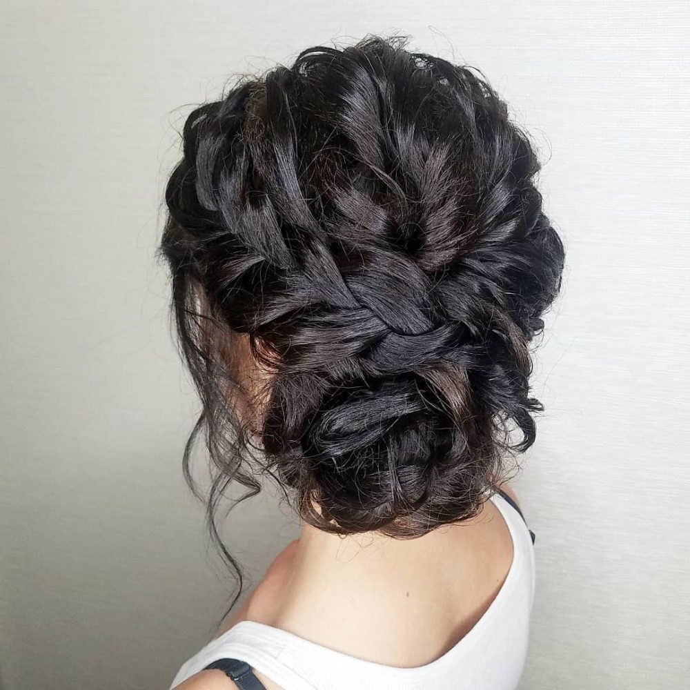 Best And Newest High Bun With Twisted Hairstyles Wrap And Graduated Side Bang Within 28 Cute & Easy Updos For Long Hair (2019 Trends) (View 4 of 20)