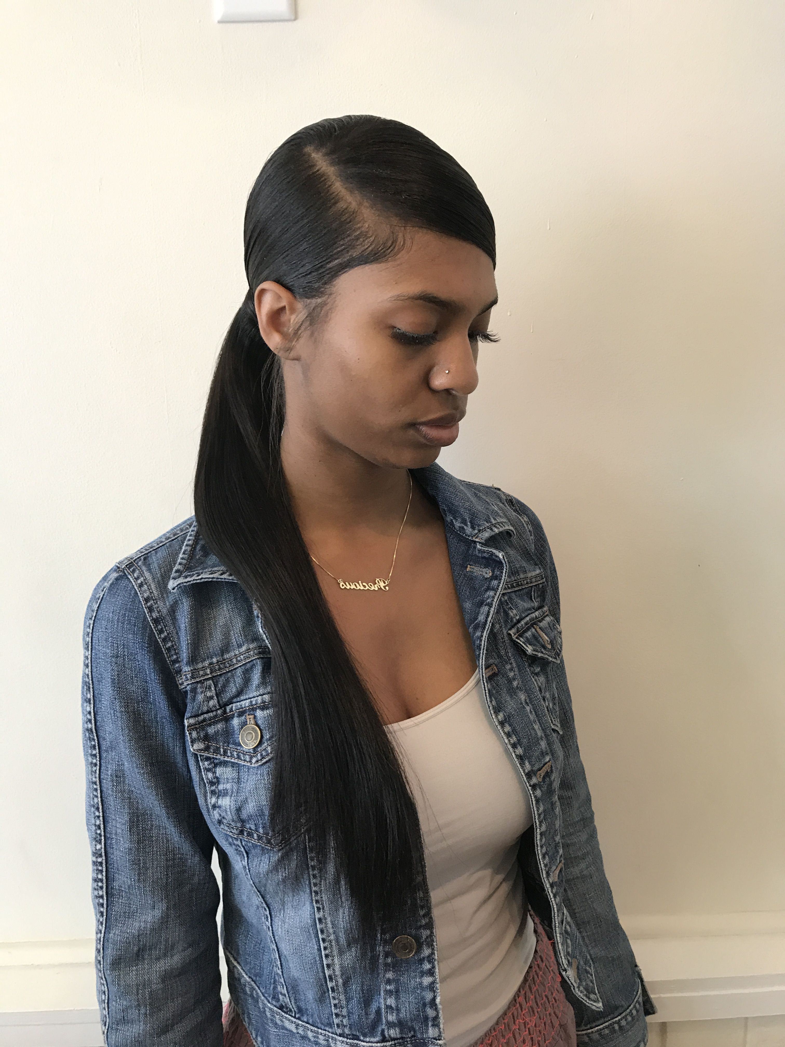 Black Girl With Regard To Most Recent Loose Low Ponytail Hairstyles With Casual Side Bang (View 9 of 20)