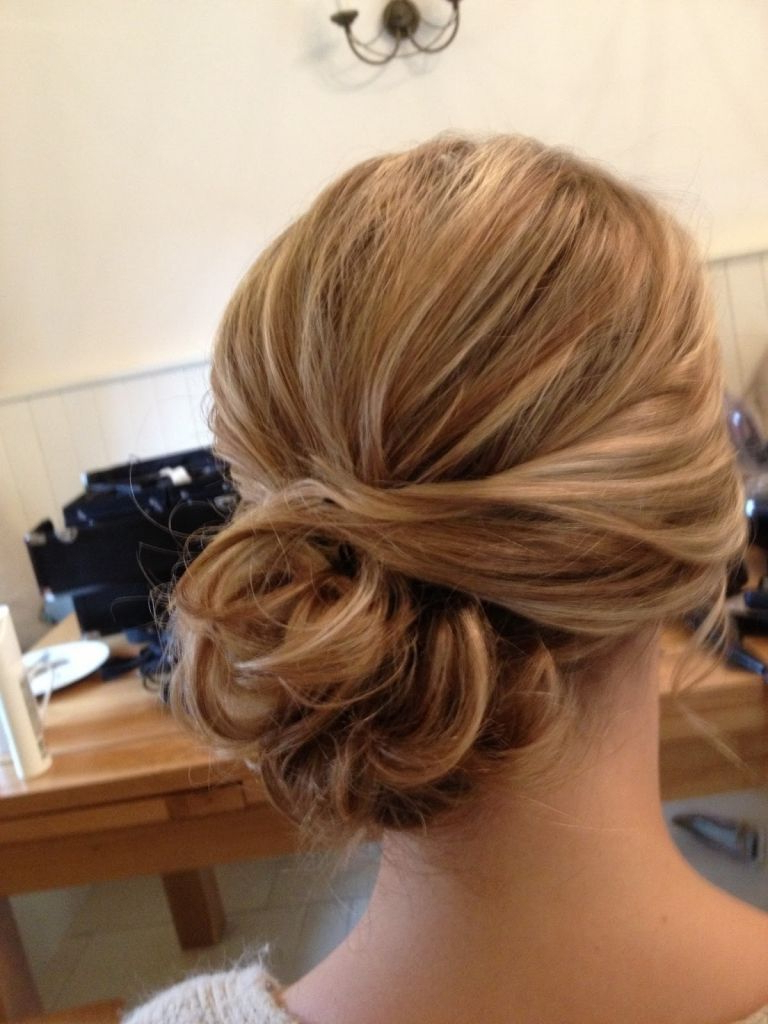 Bridesmaid Hair To The Side Messy Low Bun With Bangs Make It With Regard To Famous Elegant Messy Updos With Side Bangs (View 13 of 20)