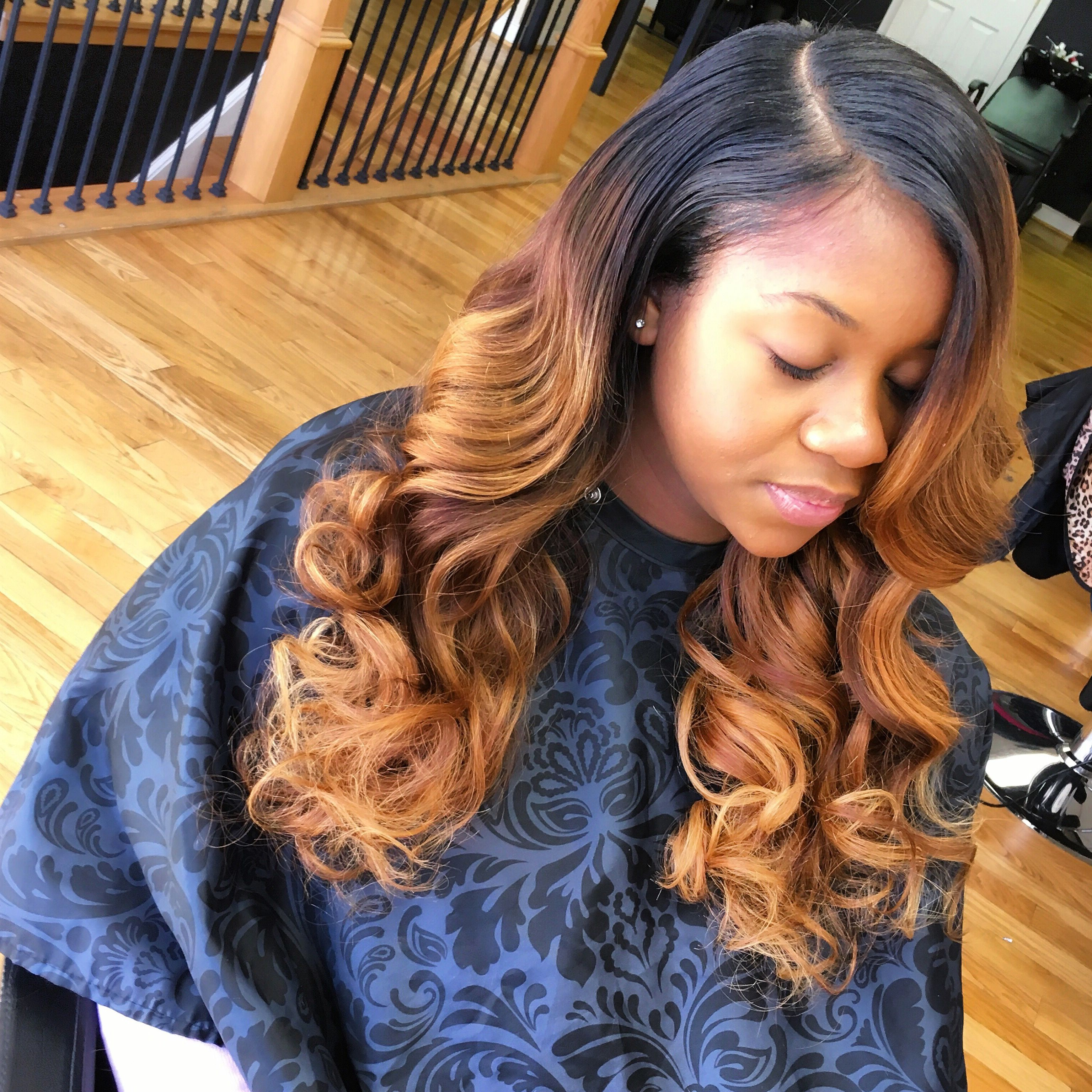 Brown And Blonde Highlights & Sew In Deep Side Part Intended For Widely Used Soft Highlighted Curls Hairstyles With Side Part (View 1 of 20)