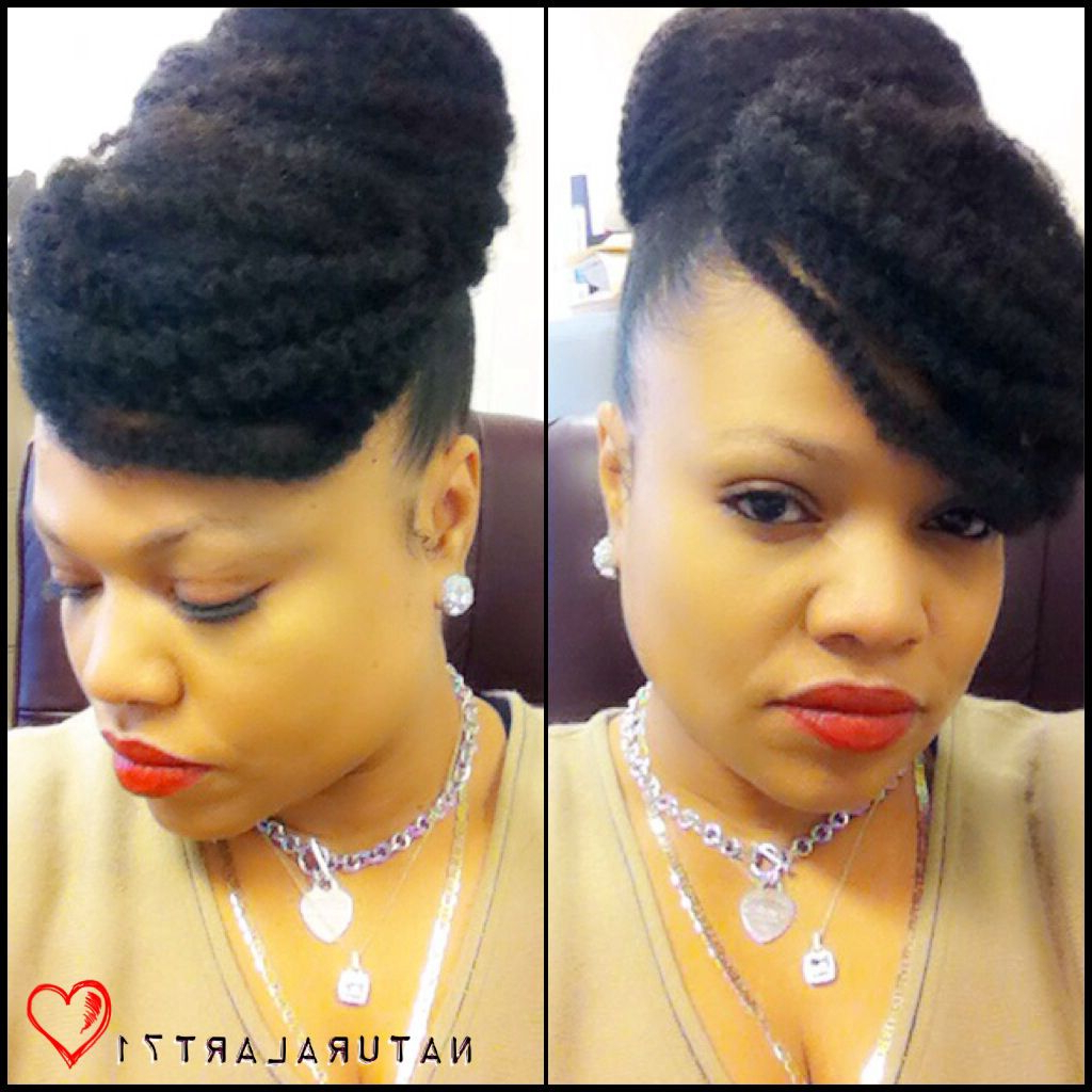 Close Up!!! Marley Bun W/faux Bang!! #protectivestyles Regarding Most Current Stylish Updos With Puffy Crown And Bangs (View 4 of 20)