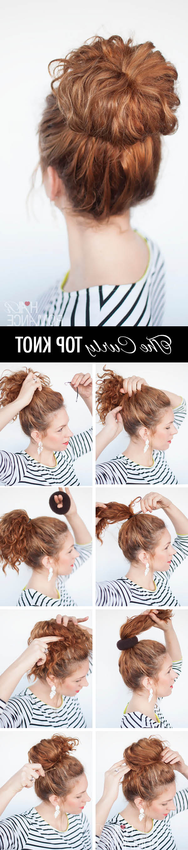 Curls Week – Curly Top Knot Hairstyle Tutorial – Hair Romance Inside Famous Messy Updo Hairstyles With Free Curly Ends (View 9 of 20)