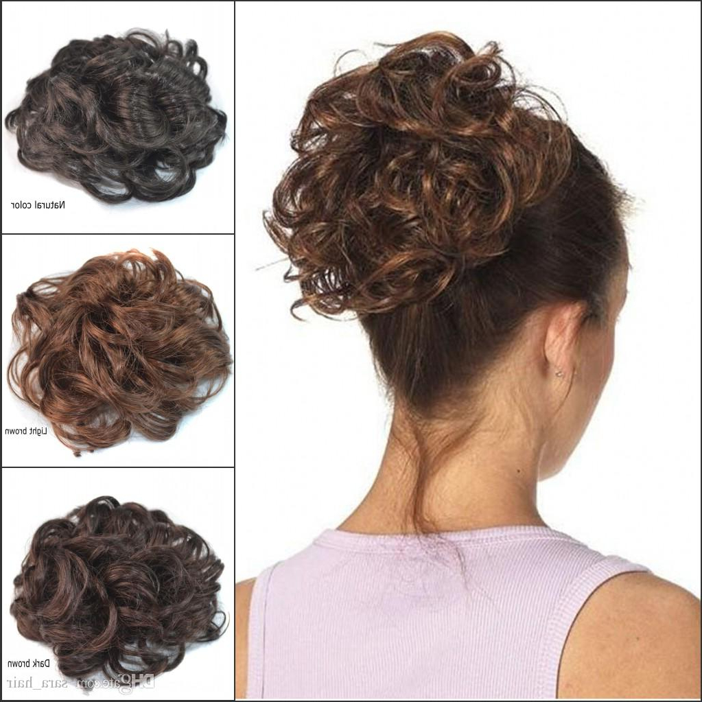 Current Messy Updo Hairstyles With Free Curly Ends Intended For Sara Hot !!! Messy Chignon Buns Kinky Curly Synthetic Hair Bun 13Cm*13Cm Brown Chignon Clip In Buns Hairpiece Toupee Hair Extension Updo (View 11 of 20)