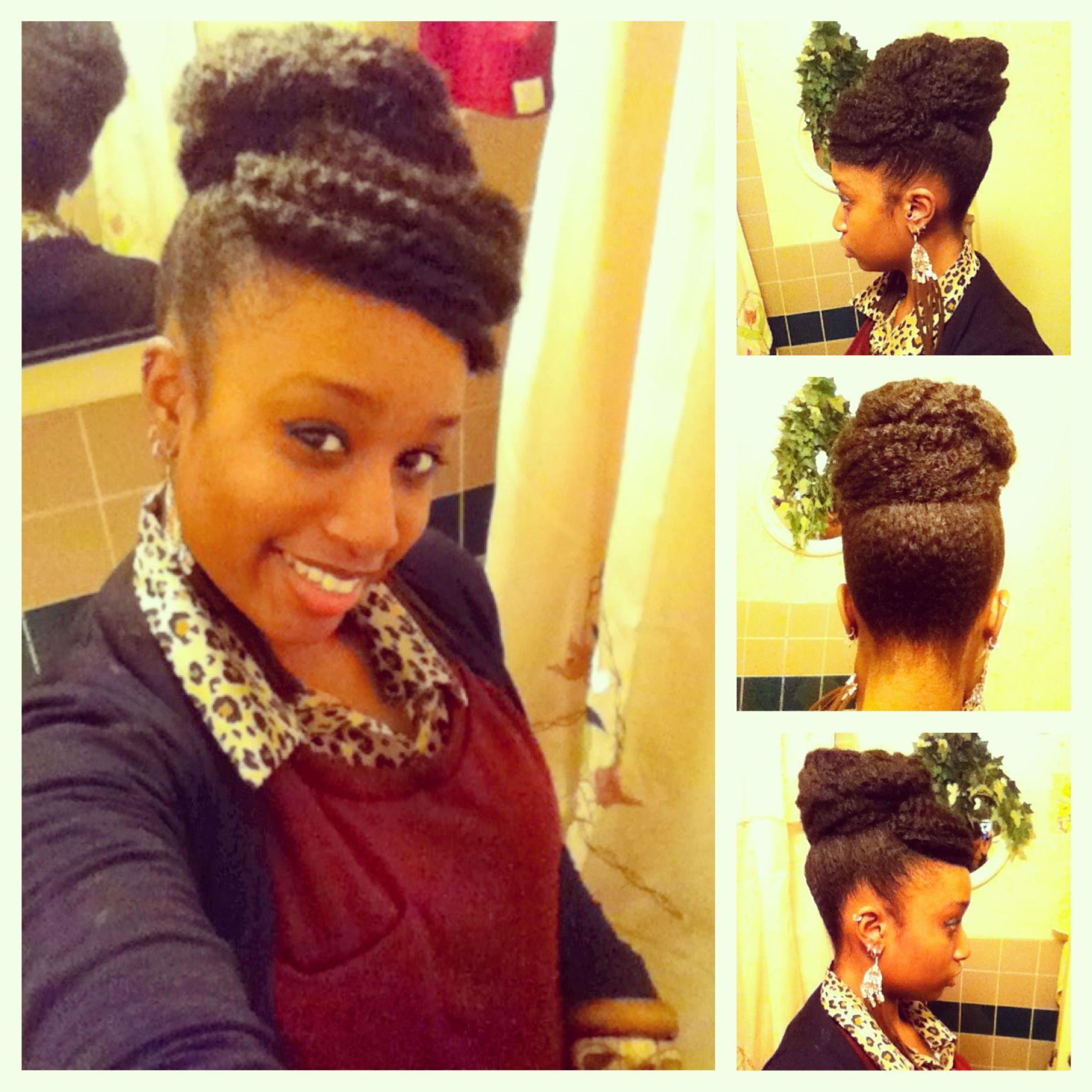Current Stylish Updos With Puffy Crown And Bangs Intended For Faux Bun With Bangs Achieved With Marley Braiding Hair (View 7 of 20)