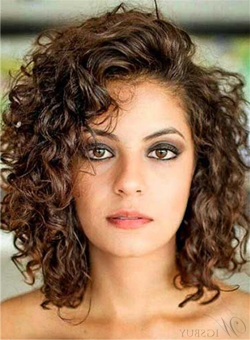 Current Volumized Curly Bob Hairstyles With Side Swept Bangs Pertaining To Side Swept Bangs Curly Mid Length Human Hair Lace Front Wigs (View 5 of 20)