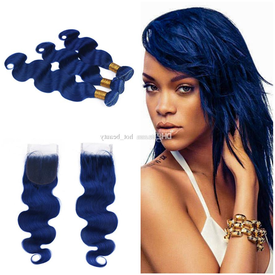 Dark Blue Bundles With Closure Body Wave Wavy Human Hair Bundles With Closure Midnight Blue Brazilian Virgin Hair Bundle Deals With Closure Black Throughout Well Known Black And Denim Blue Waves Hairstyles (Gallery 18 of 20)