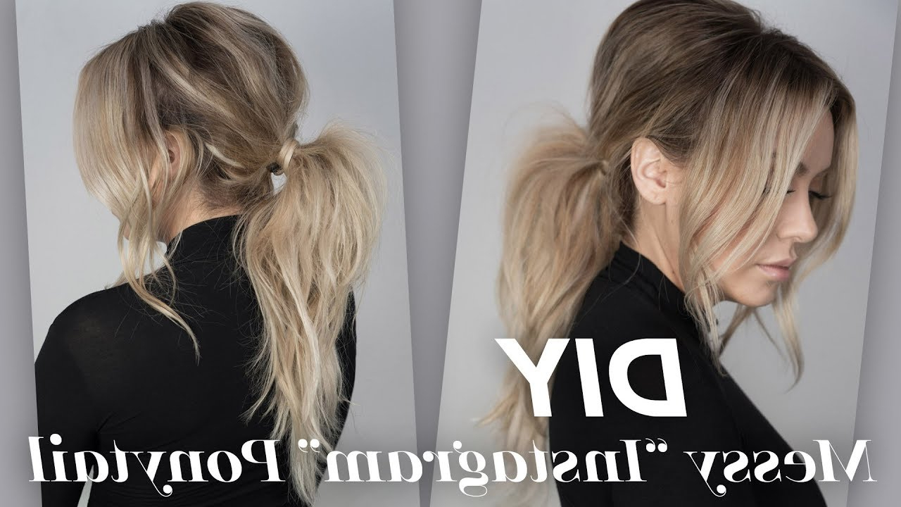Diy – Easy To Do, Messy Instagram Ponytail Regarding Favorite Messy Voluminous Ponytail Hairstyles With Textured Bangs (View 2 of 20)