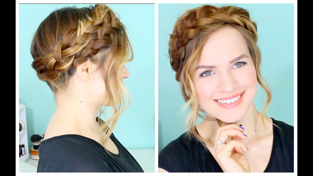 Famous Stylish Updos With Puffy Crown And Bangs Pertaining To How To: Easy Crown Braid (Gallery 10 of 20)