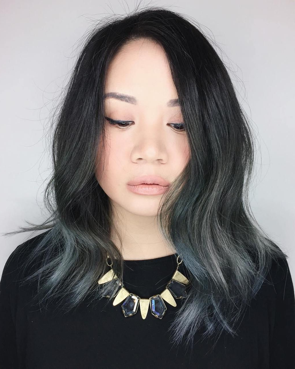 Featured Photo of Black And Denim Blue Waves Hairstyles