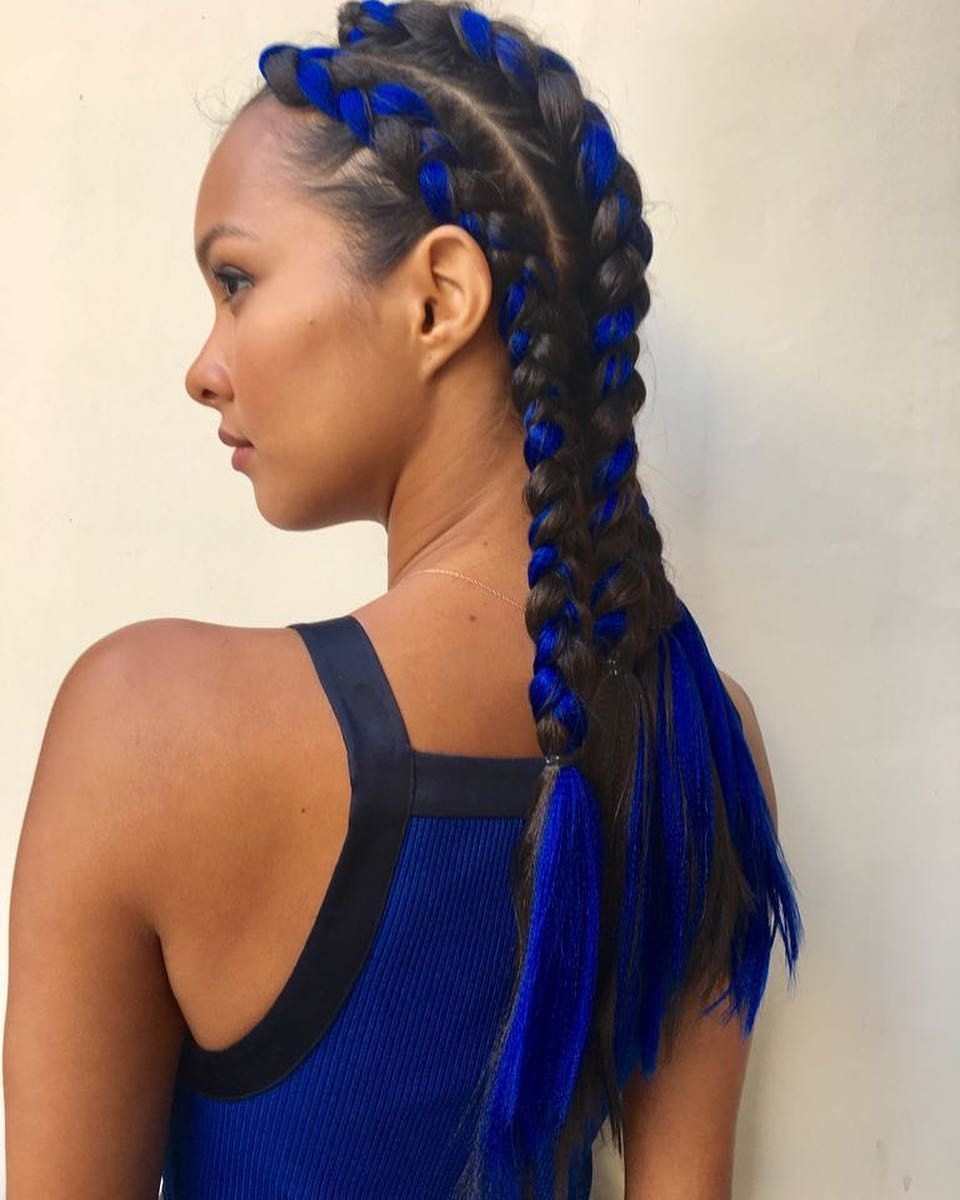Fashionable Blue Braided Festival Hairstyles In 5 Model Braids Seen On Instagram To Copy For Coachella (View 2 of 20)