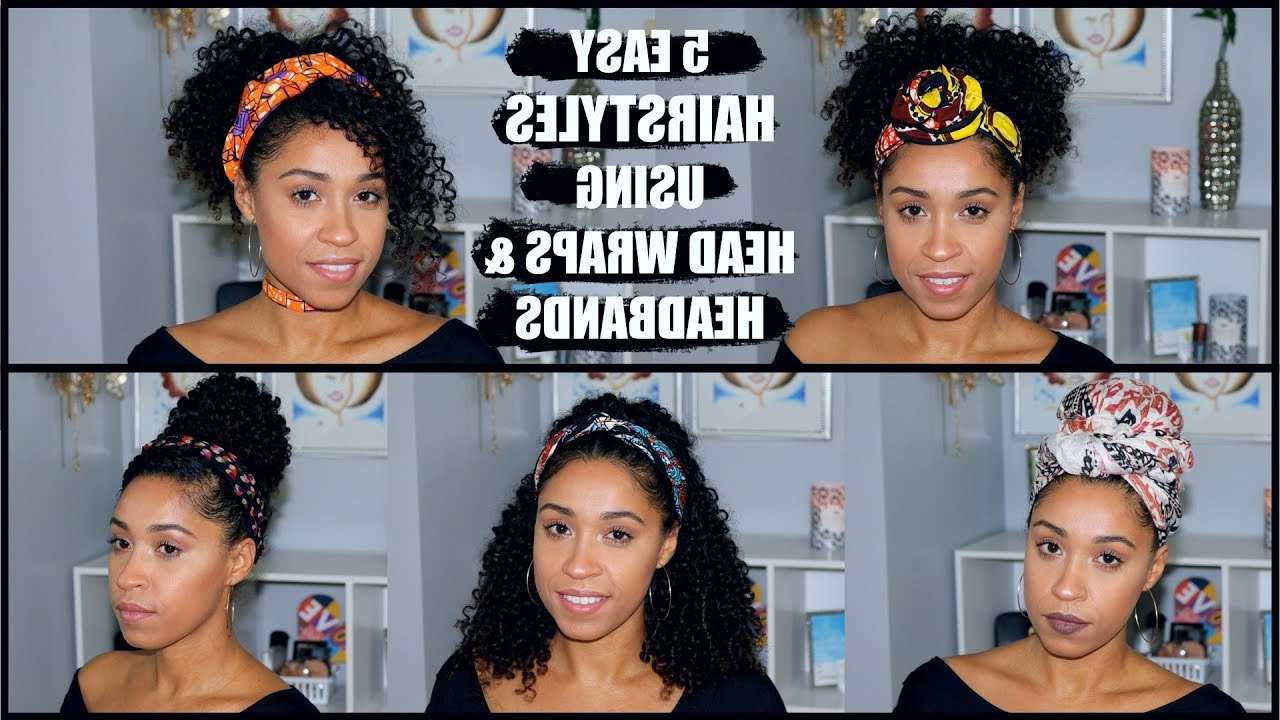 Fashionable Hairstyles With Fringes, End Curls And Headband Inside Easy Head Wrap & Headband Hairstyles For Curly Hair (View 9 of 20)