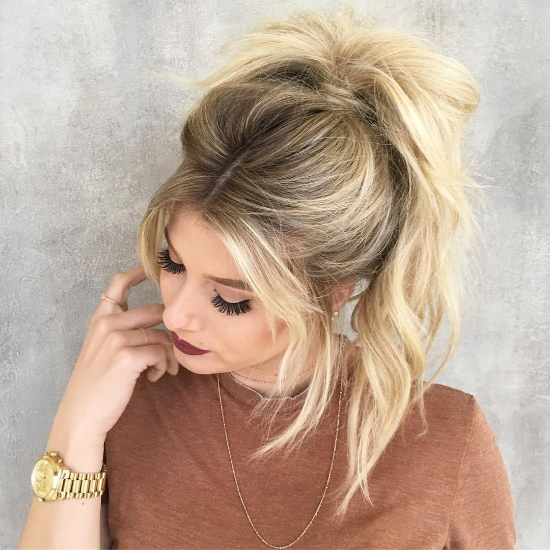 Favorite Turned And Twisted Pigtails Hairstyles With Front Fringes Pertaining To The 20 Most Alluring Ponytail Hairstyles (View 5 of 20)