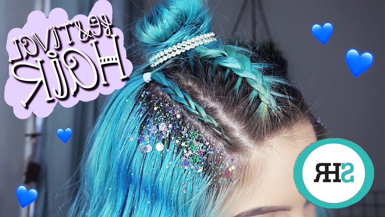 Festival Braids With Glitter! Inside Most Current Blue Braided Festival Hairstyles (View 12 of 20)