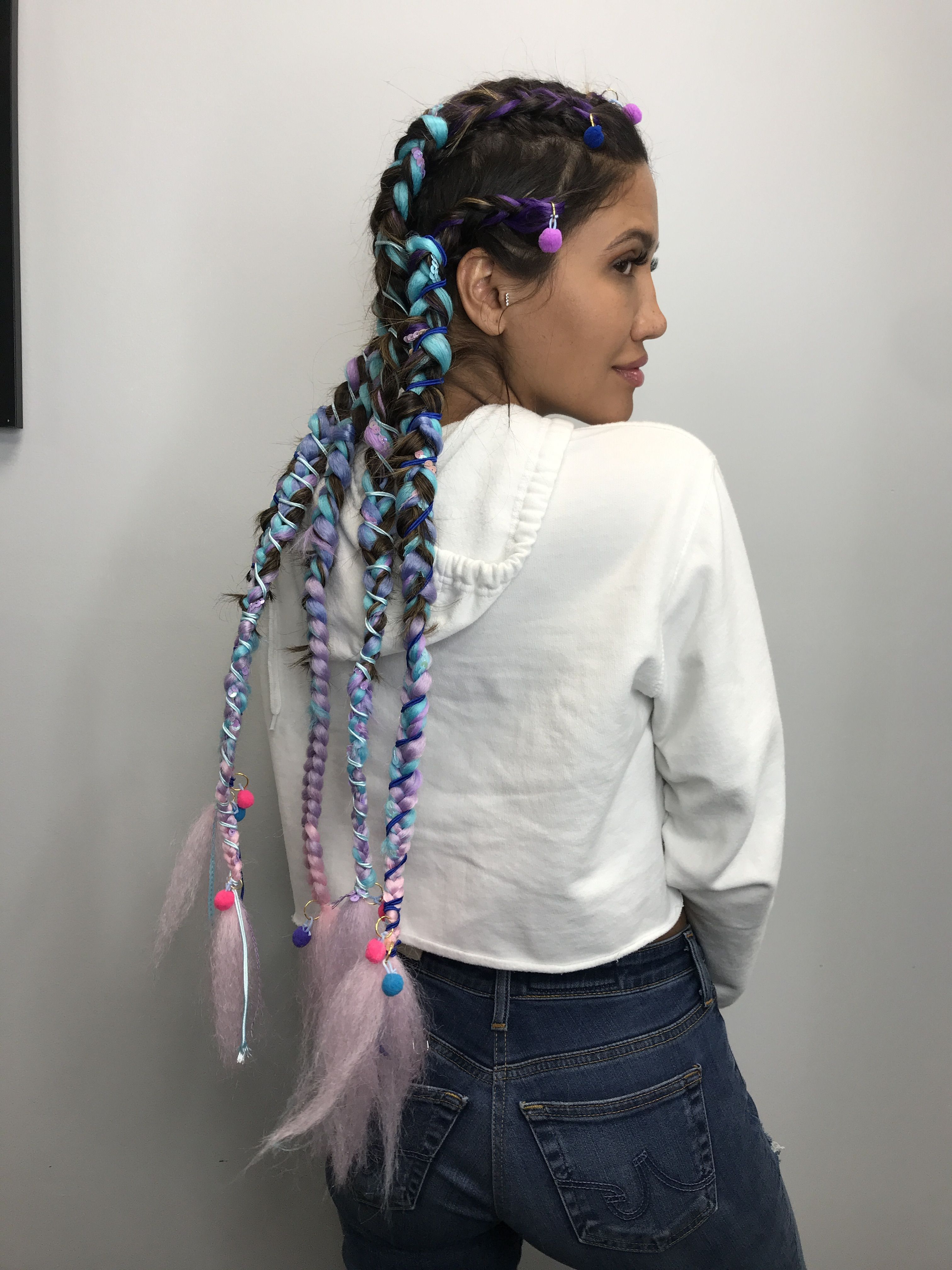 Festival Coachella Hair Pink Blue Pom Pom Braidstatiana Throughout Most Up To Date Blue Braided Festival Hairstyles (View 11 of 20)