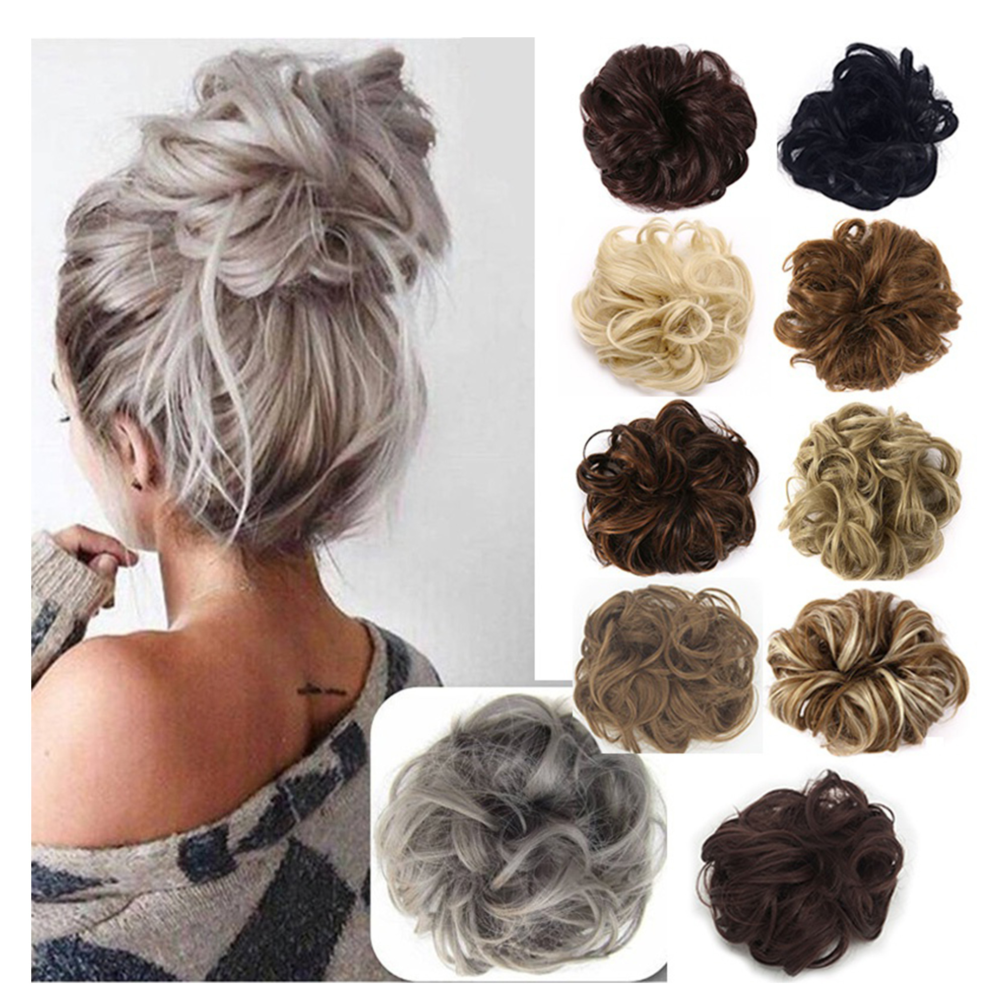 Florata Messy Hair Bun Extensions Hair Piece Curly Hair Scrunchies Elegant Chignon Hair Donut Scrunchy Updo Pony Tail With Regard To Most Recently Released Messy Updo Hairstyles With Free Curly Ends (View 12 of 20)