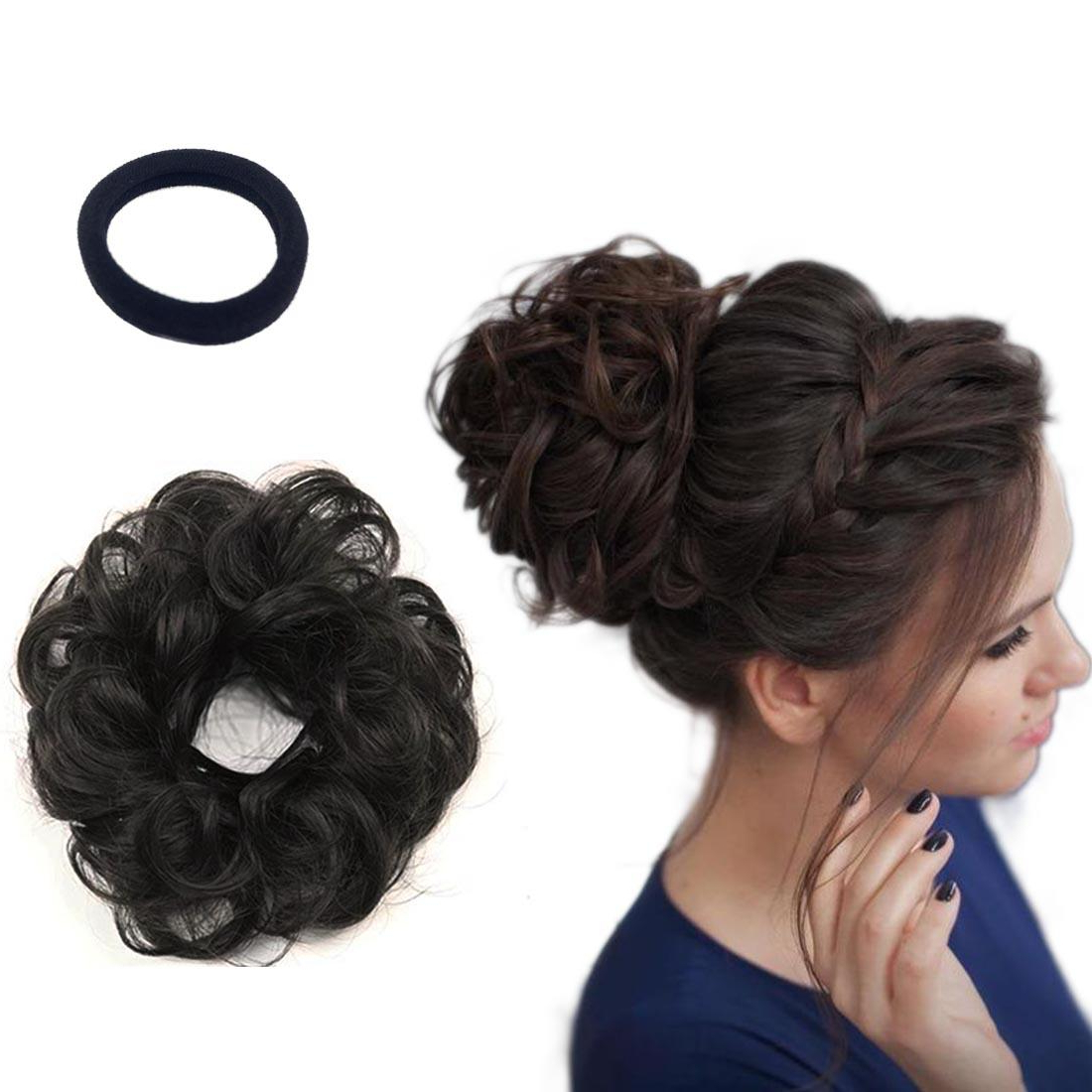 Hair Buns Real Human Hair Extensions For Women Wavy Curly Donut Hair Chignons Scrunchy Scrunchie Updo Hairpiece Perfect Messy Bun Side Swept Chignon Pertaining To Most Recently Released Messy Updo Hairstyles With Free Curly Ends (View 14 of 20)