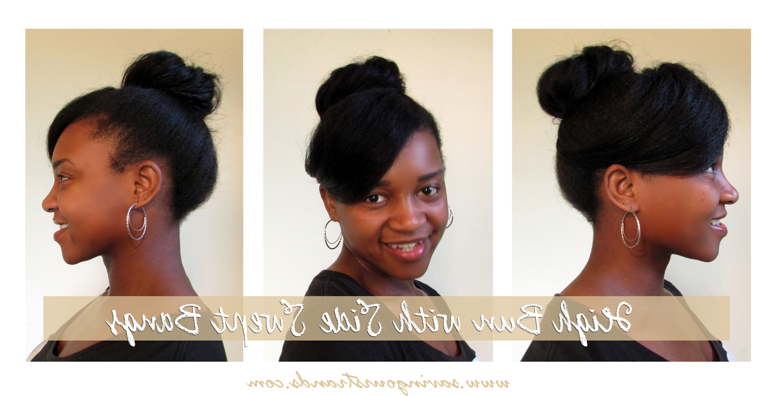 High Bun With Side Swept Bangs #protectivestyle For Inside Preferred Sleek High Bun Hairstyles With Side Sweep (View 2 of 20)