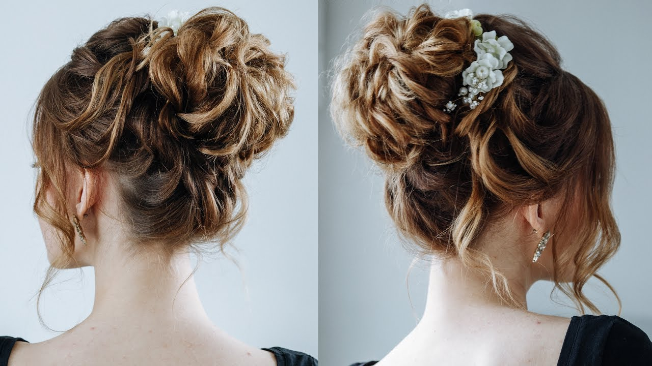 High Curly Messy Bun\ The Topknot Updo For Widely Used Elegant Messy Updos With Side Bangs (View 14 of 20)