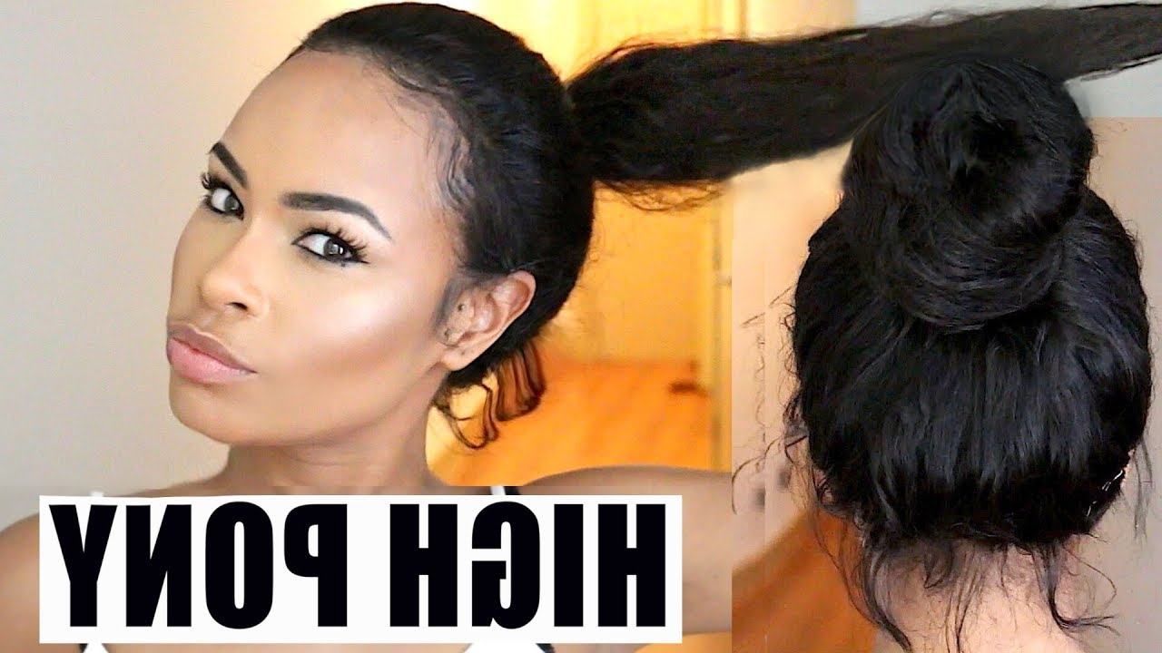 How To Put Your Wig Into A High Ponytail : Watch Me Slay This Cheap 360 Wig! Regarding Latest Tight High Ponytail Hairstyles With Fringes (View 9 of 20)