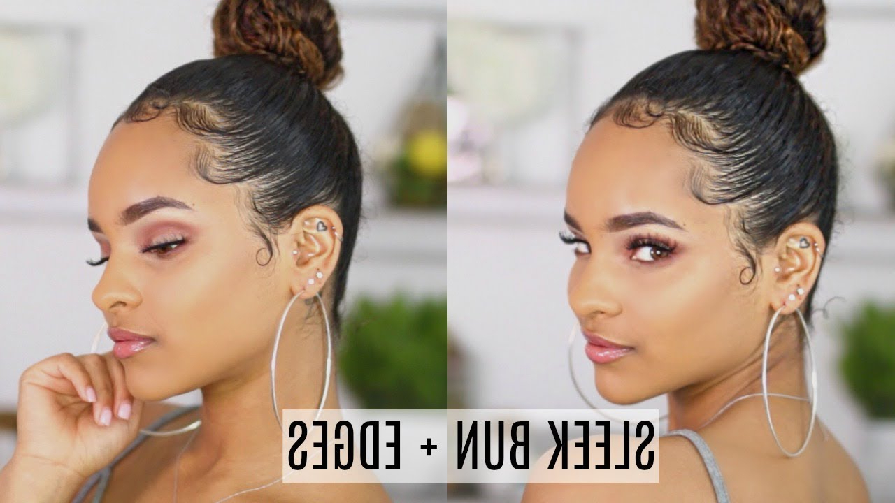 How To: Sleek Bun + Edges Tutorial For Best And Newest Sleek High Bun Hairstyles With Side Sweep (View 13 of 20)
