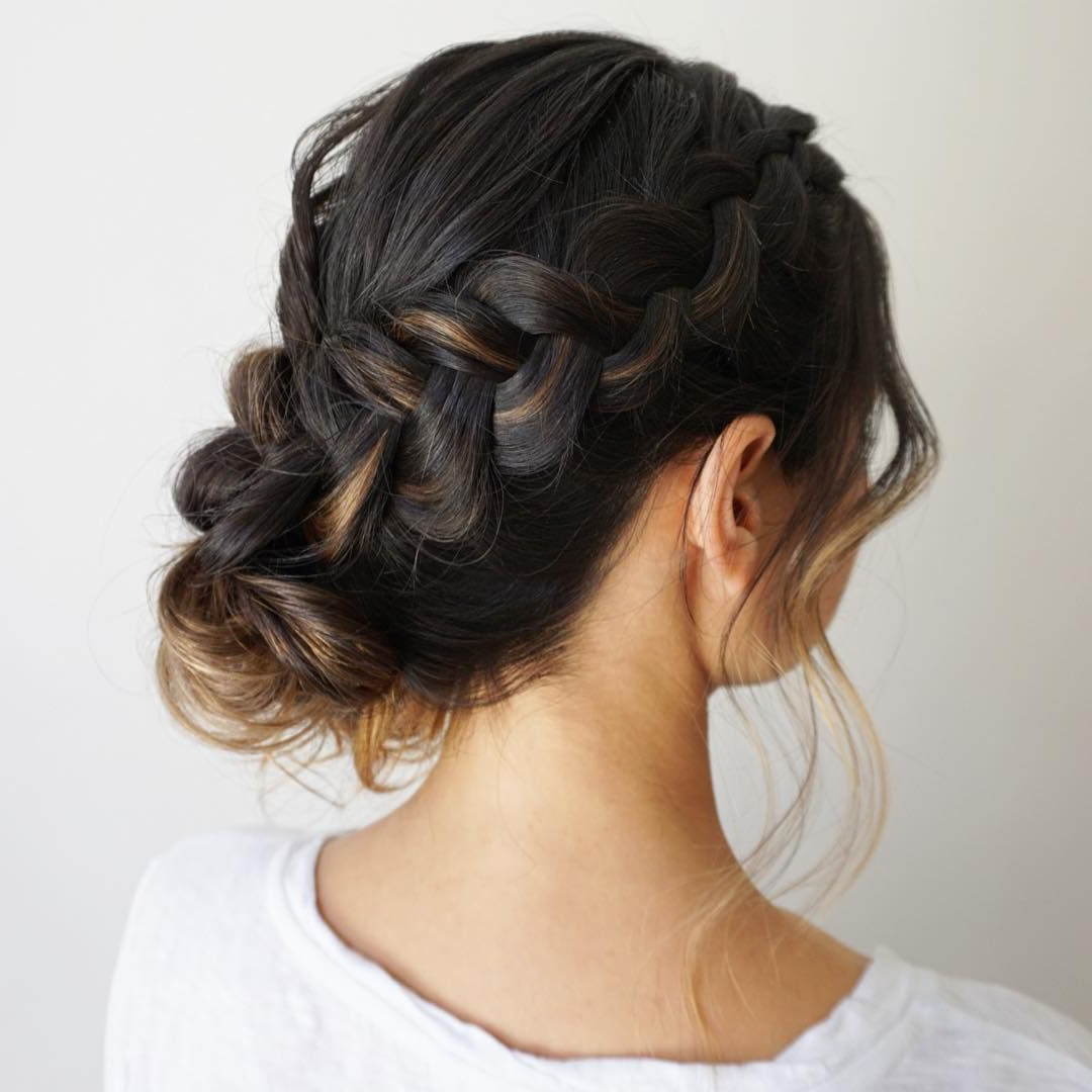 Latest Braided Bun Hairstyles With Puffy Crown In 50 Braided Wedding Hairstyles We Love (View 13 of 20)
