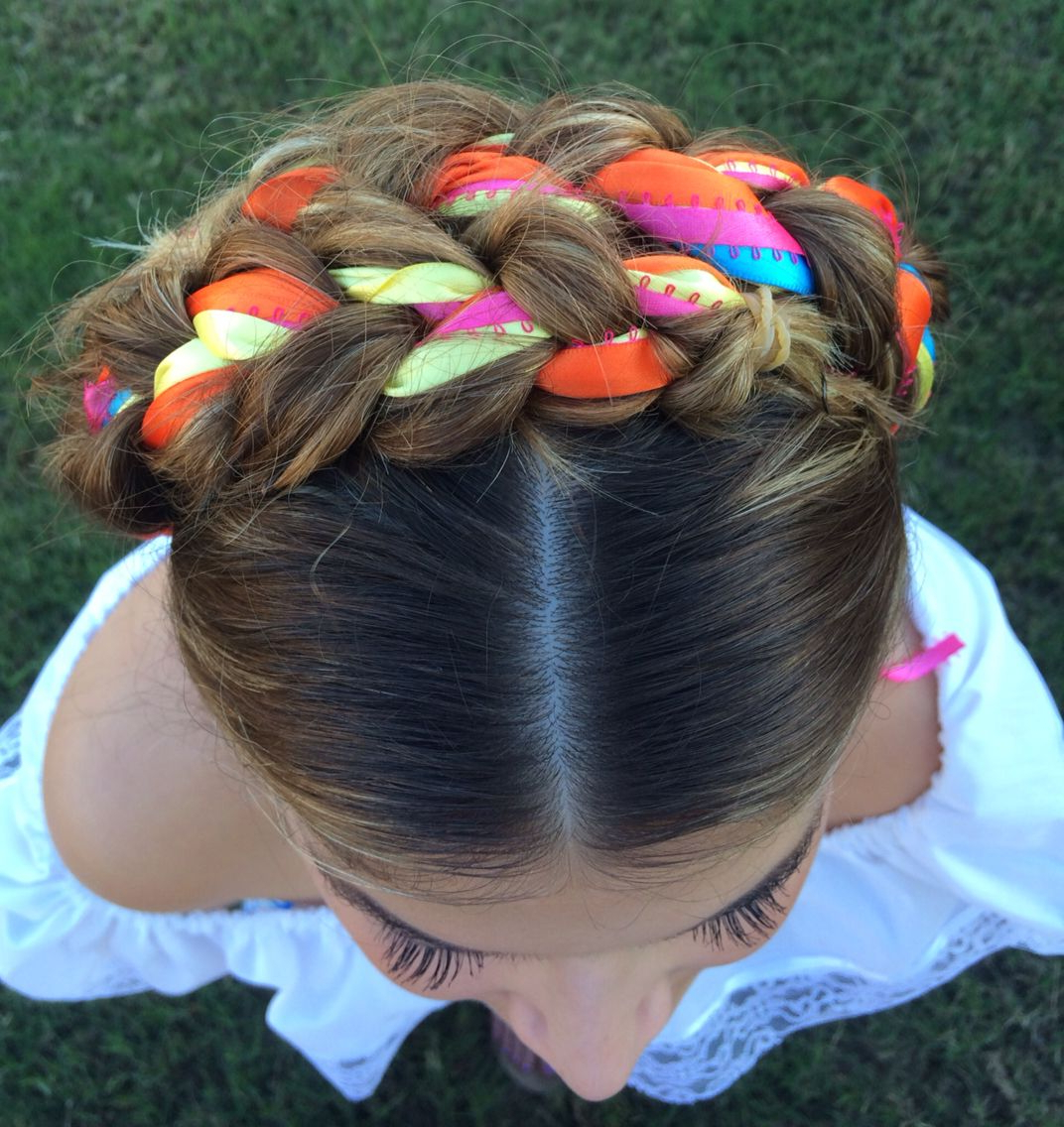 Latest Braided Bun Hairstyles With Puffy Crown In Crown Braid With Ribbons (View 6 of 20)