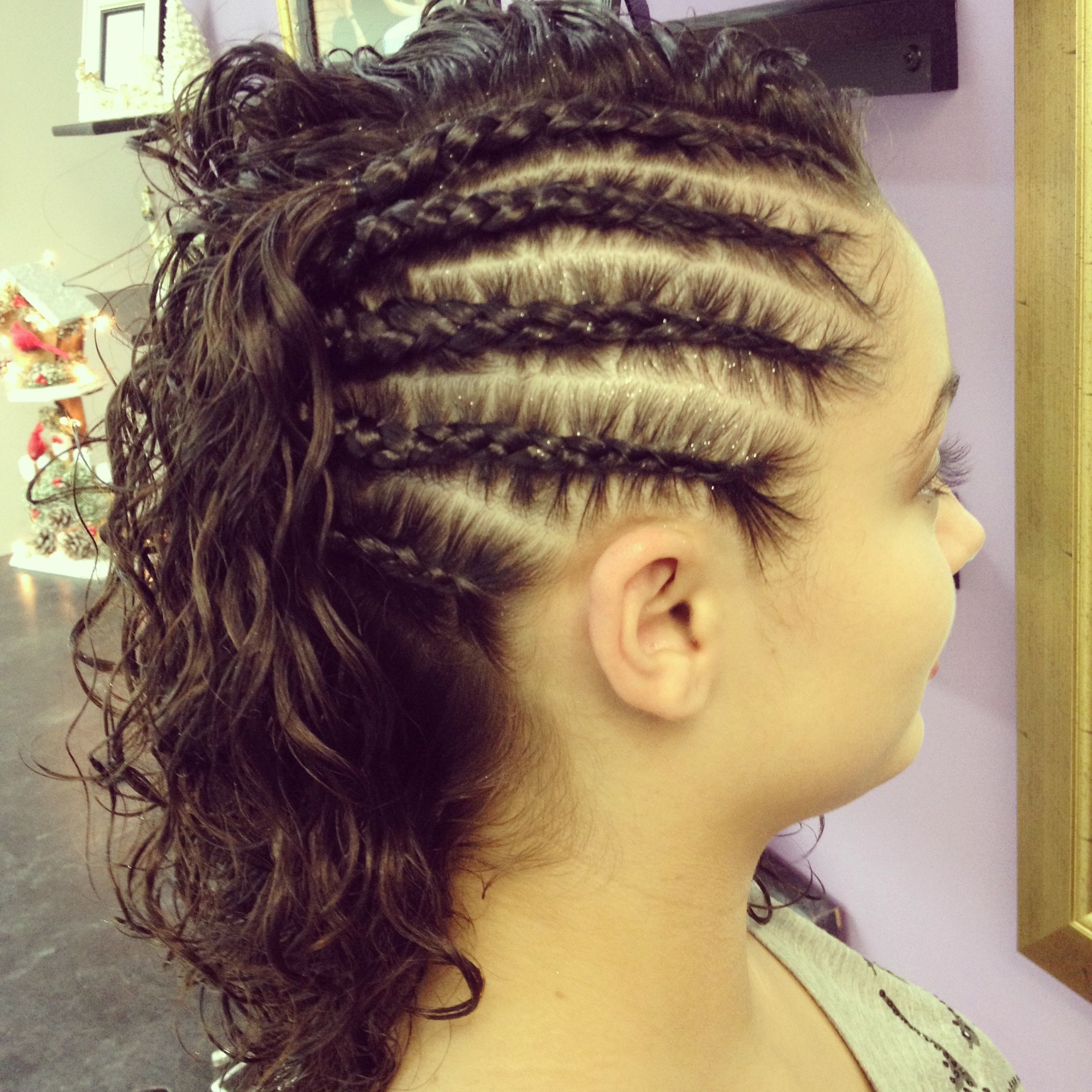 Latest Mermaid Waves Hairstyles With Side Cornrows With Regard To Braided On One Side And Curly On The Other (View 10 of 20)