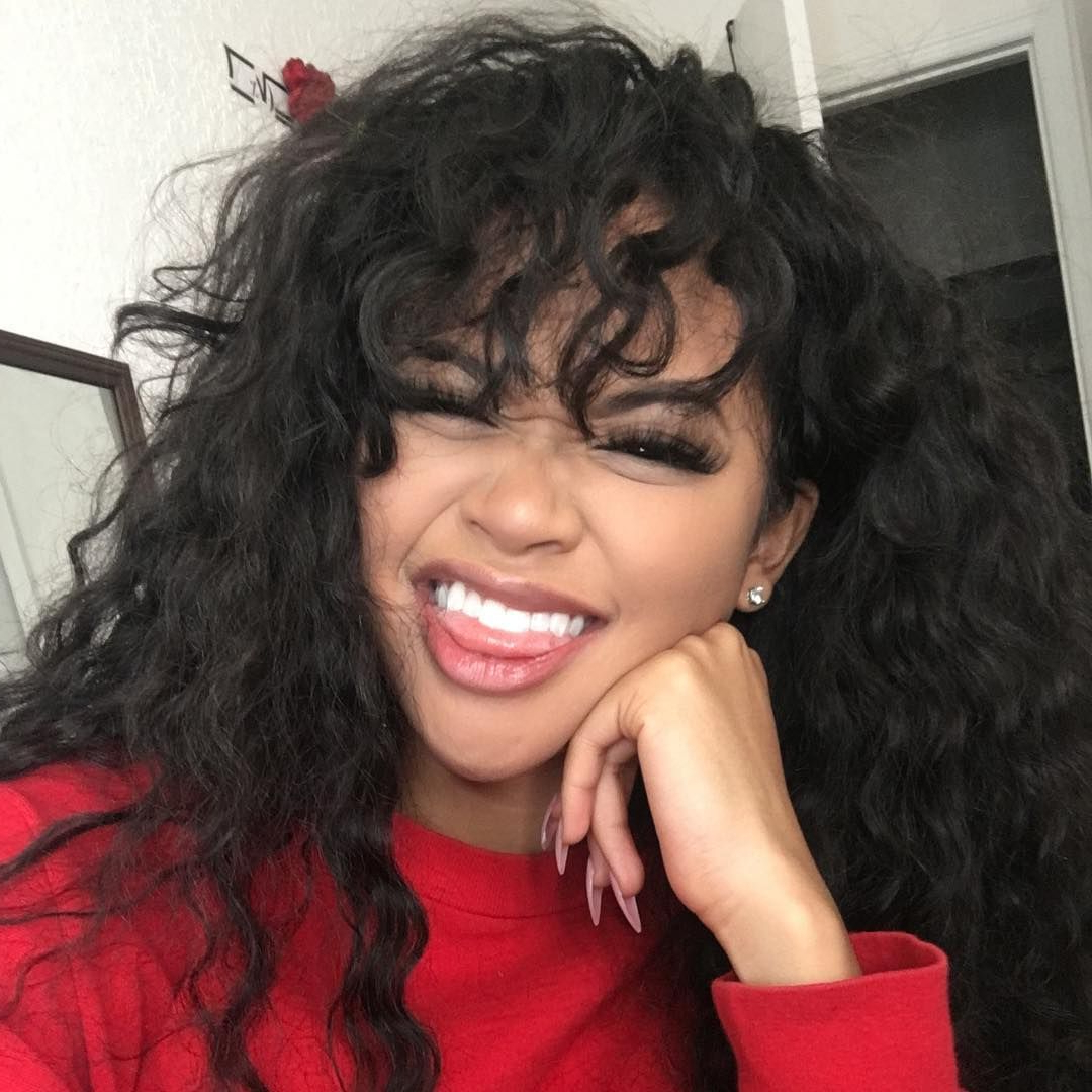 Latest Soft And Casual Curls Hairstyles With Front Fringes Regarding Pin On Wigs For Black Women (View 8 of 20)