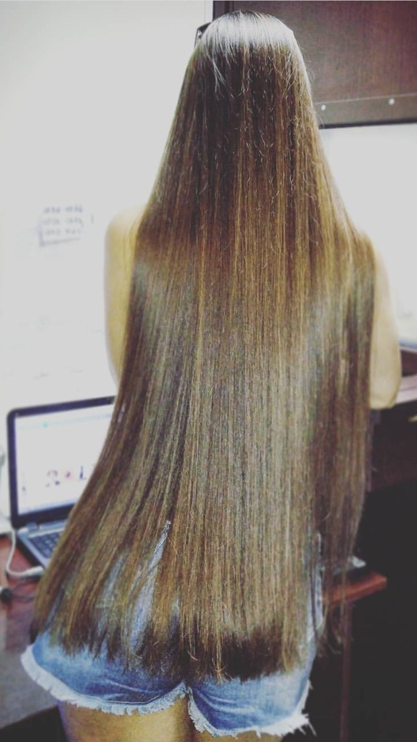 Long Straight Hair. Soft Brunette Brown (View 13 of 20)