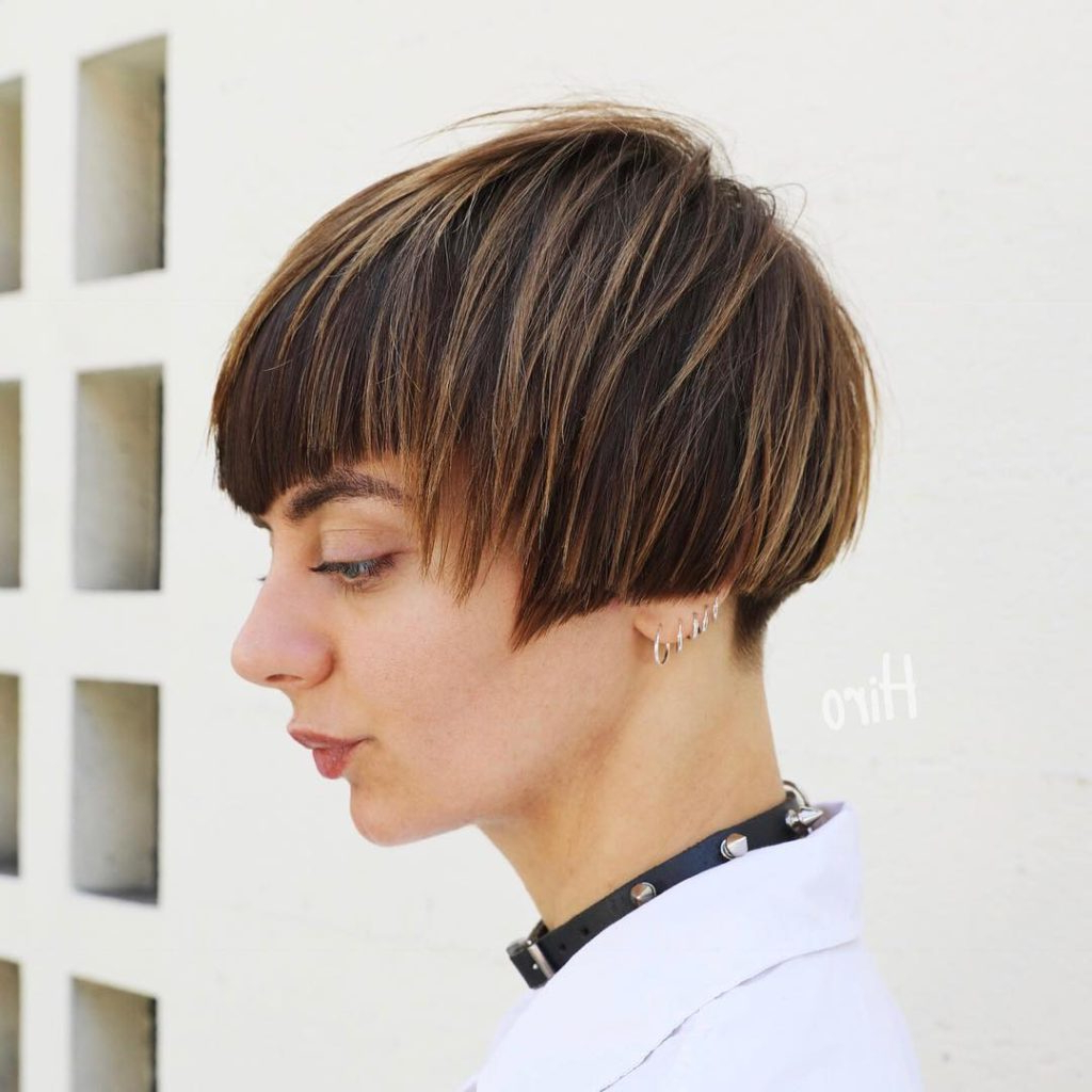 Men Hairstyle : Womens Short Highlighted Brunette Bob With With Regard To Popular Very Short Boyish Bob Hairstyles With Texture (View 7 of 20)