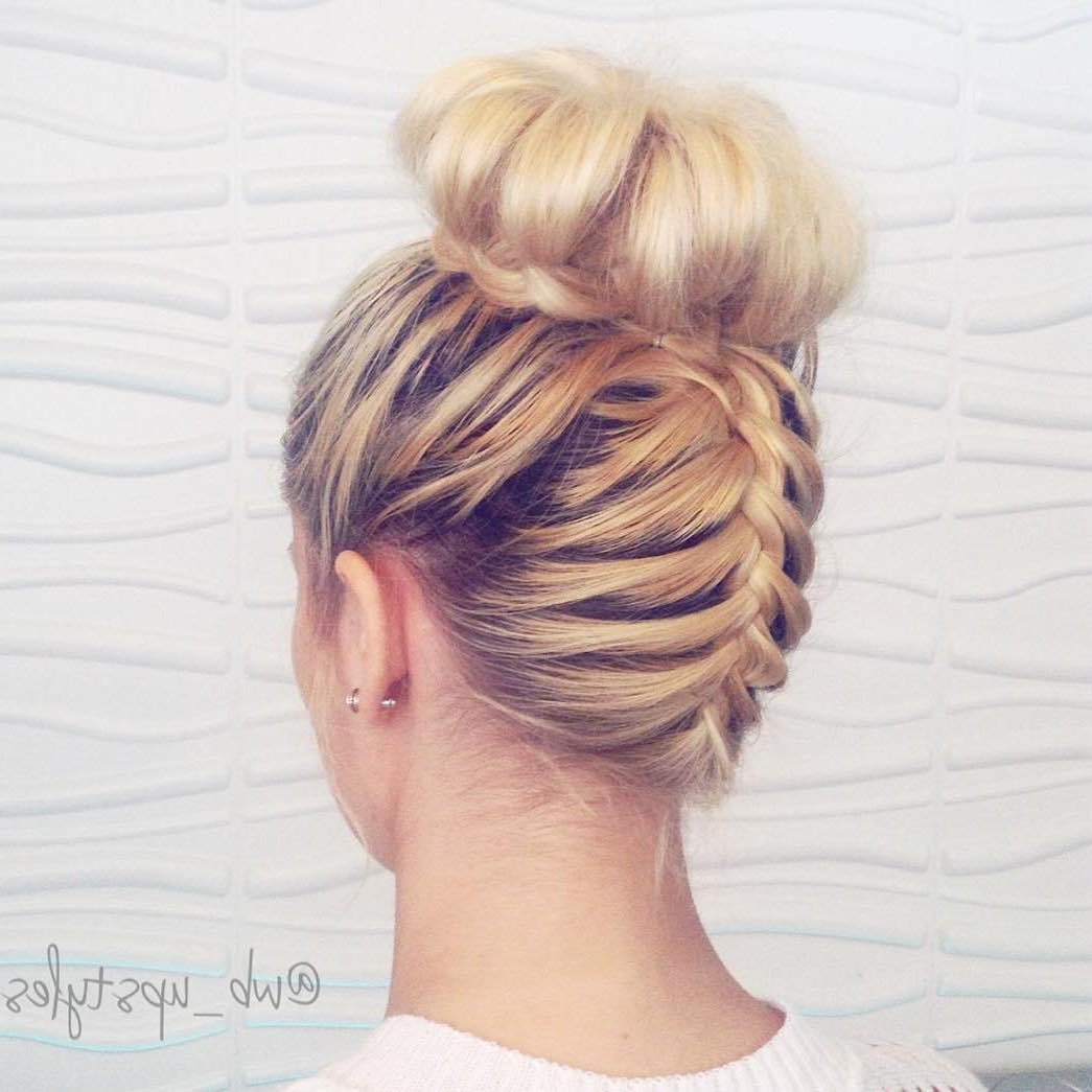 Most Recent Braided Bun Hairstyles With Puffy Crown Within 20 Cute Upside Down French Braid Ideas (View 2 of 20)