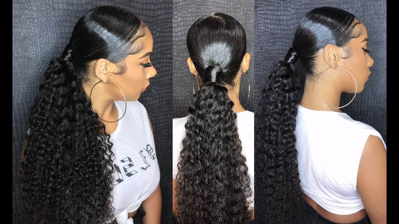 Most Recent Straight Side Ponytail Hairstyles With Center Part Pertaining To Sleek Middle Part Ponytail With Beauty Forever Malaysian Curly Hair (View 5 of 20)