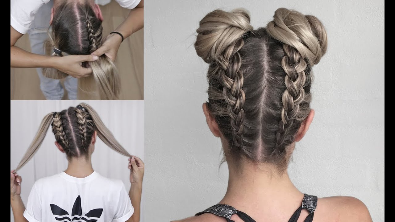 Most Recently Released Braided Bun Hairstyles With Puffy Crown Regarding Space Buns – Double Bun – Upside Down Dutch Braid Into Messy Buns – Diy Tutorial! (View 5 of 20)