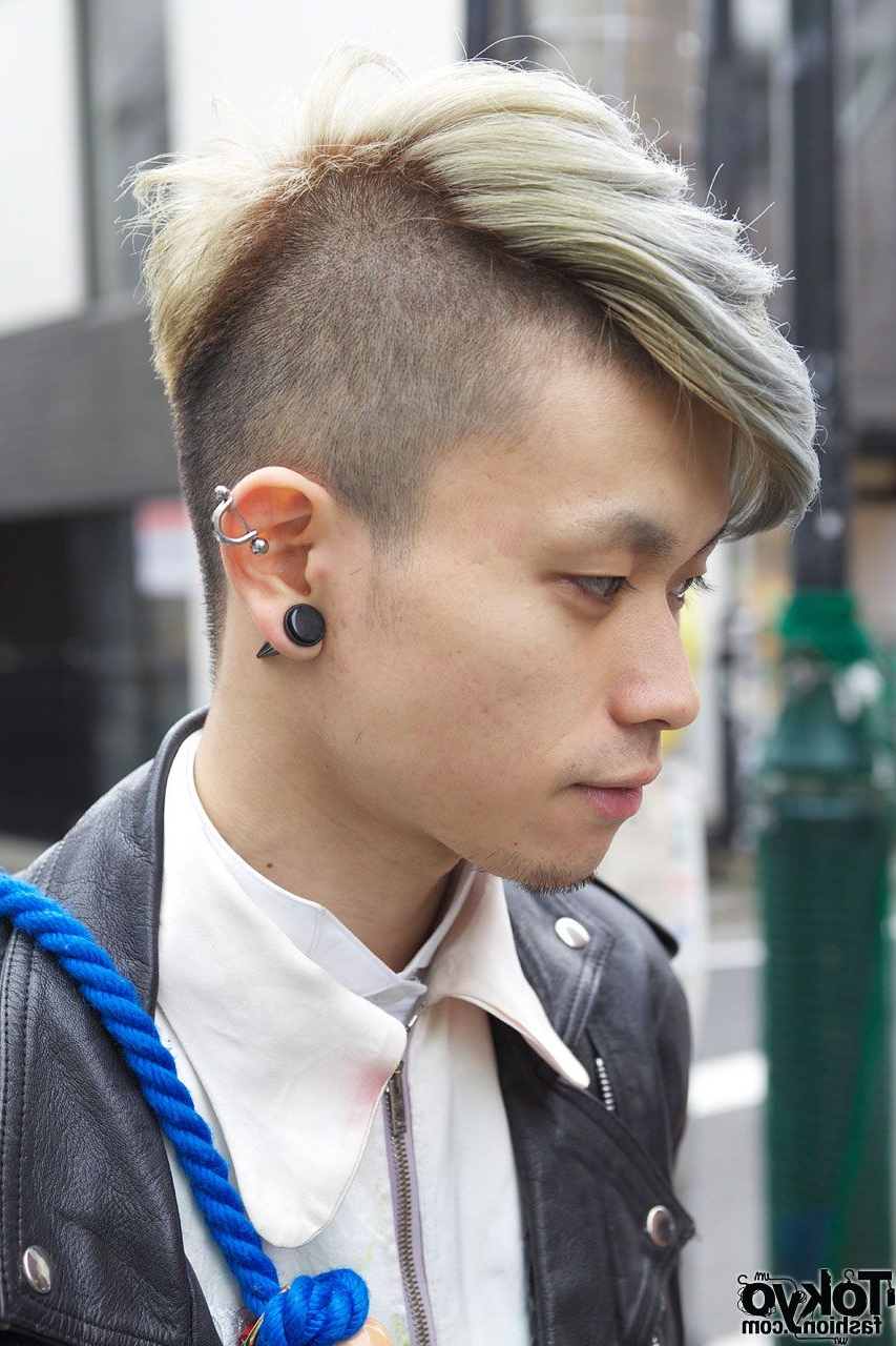 Most Up To Date Cool Silver Asian Hairstyles With Shaved & Long Hair W/ Ear Stud And Silver Earring (View 4 of 20)