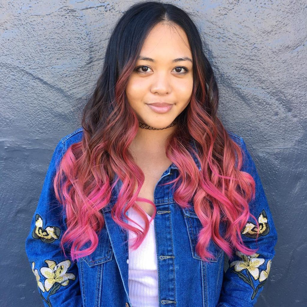 Newest Black And Denim Blue Waves Hairstyles With Brunette Layered Cut With Waves And Pink Color Melt Ombre (View 11 of 20)