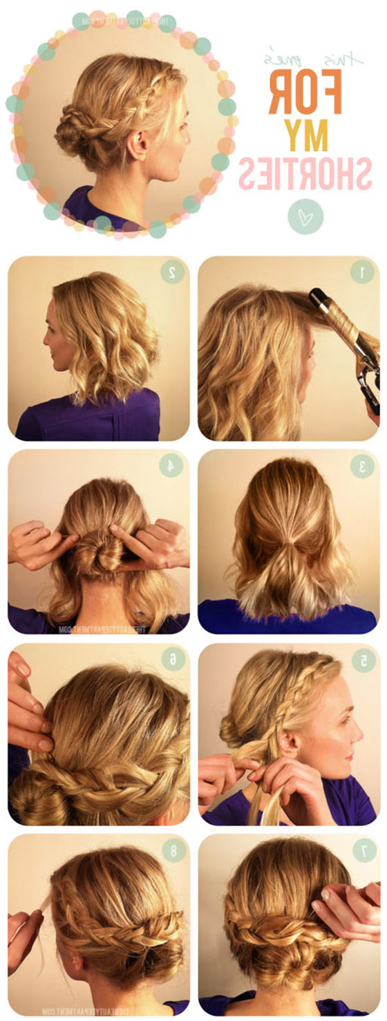 Newest Braided High Bun Hairstyles With Layered Side Bang With Regard To 40 Quick And Easy Updos For Medium Hair (View 18 of 20)