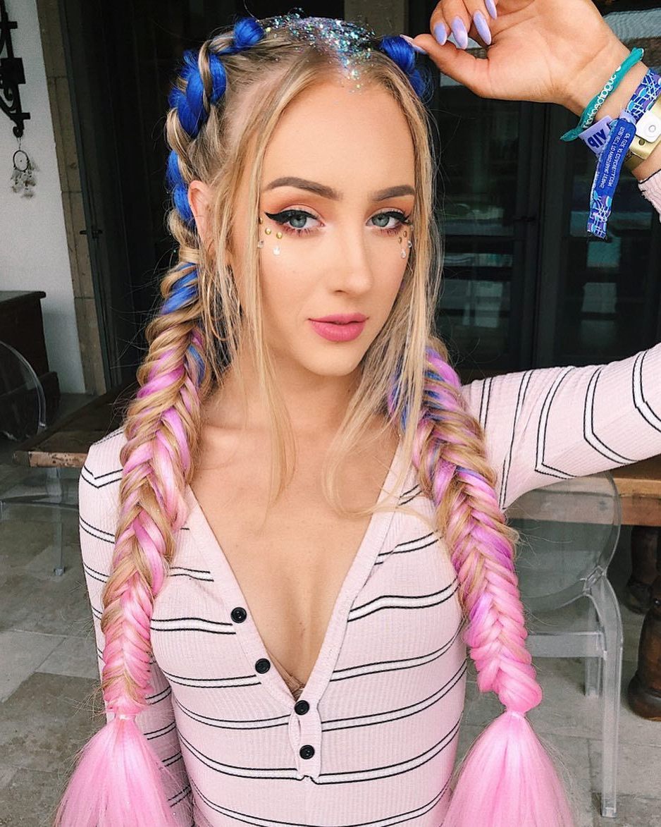 Pink And Blue Hair Braids #hair #hairlocks #hairextensions For 2019 Blue Braided Festival Hairstyles (Gallery 5 of 20)