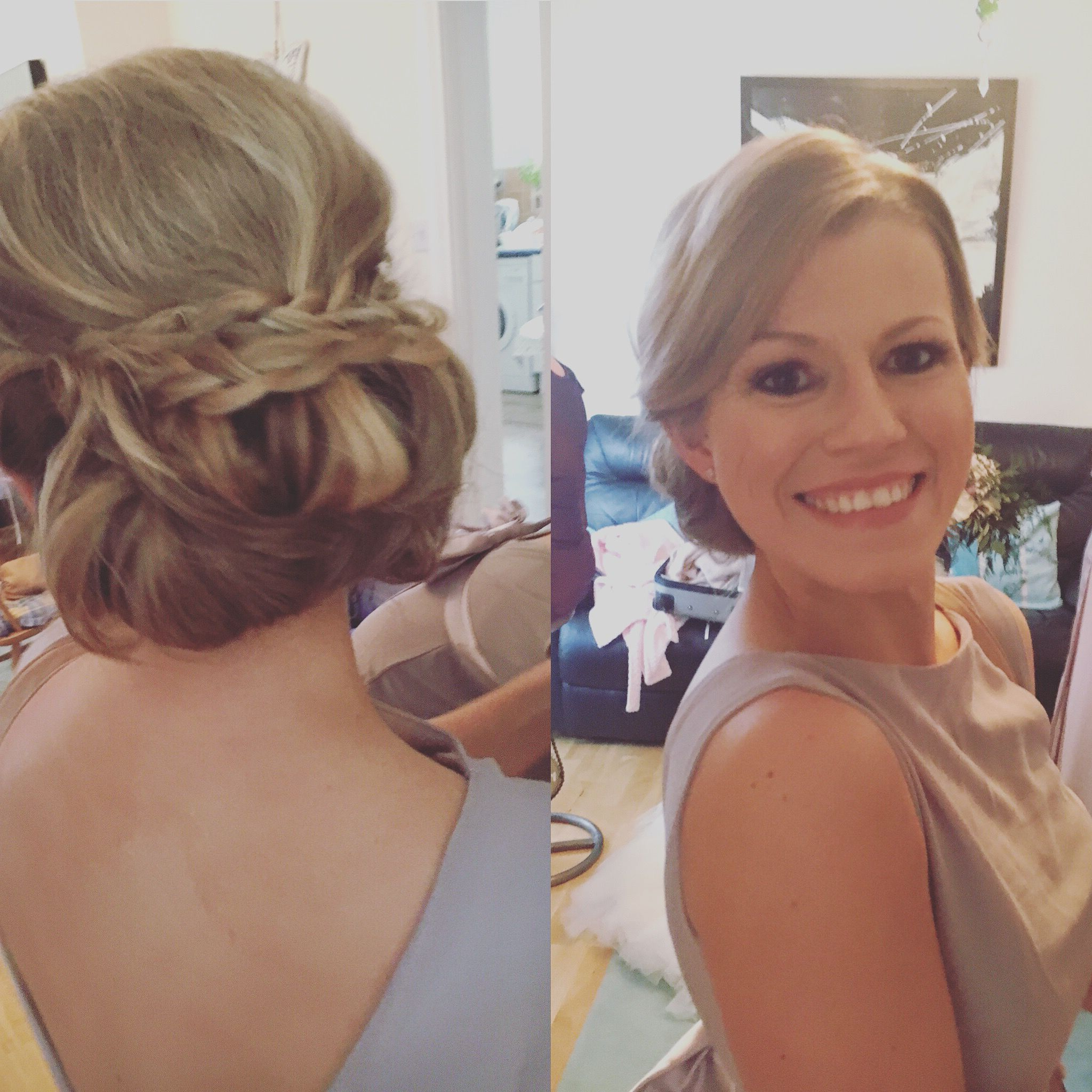 Popular Elegant Messy Updos With Side Bangs With Beautiful Blonde Bridesmaid ! Side Sweeping Fringe And A (View 2 of 20)