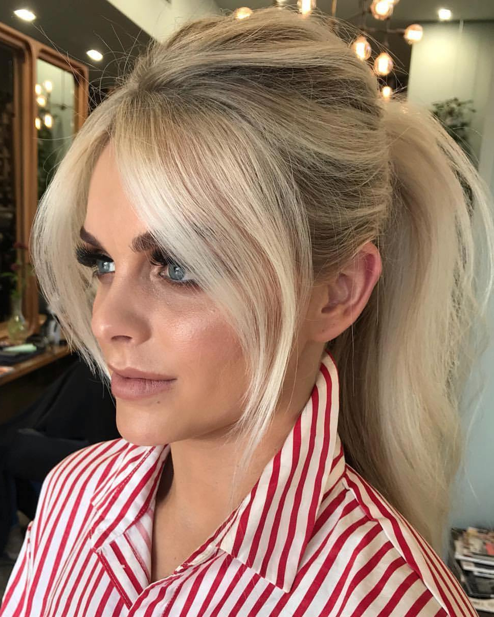 Popular Messy Voluminous Ponytail Hairstyles With Textured Bangs Regarding The Most Instagrammable Hairstyles With Bangs In 2019 (Gallery 14 of 20)
