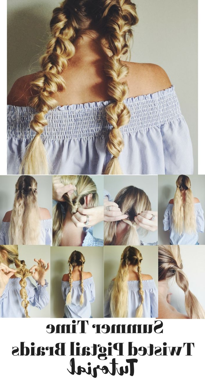 Popular Turned And Twisted Pigtails Hairstyles With Front Fringes For Summer Time Twisted Pigtail Braids Stepstep Tutorial (Gallery 11 of 20)