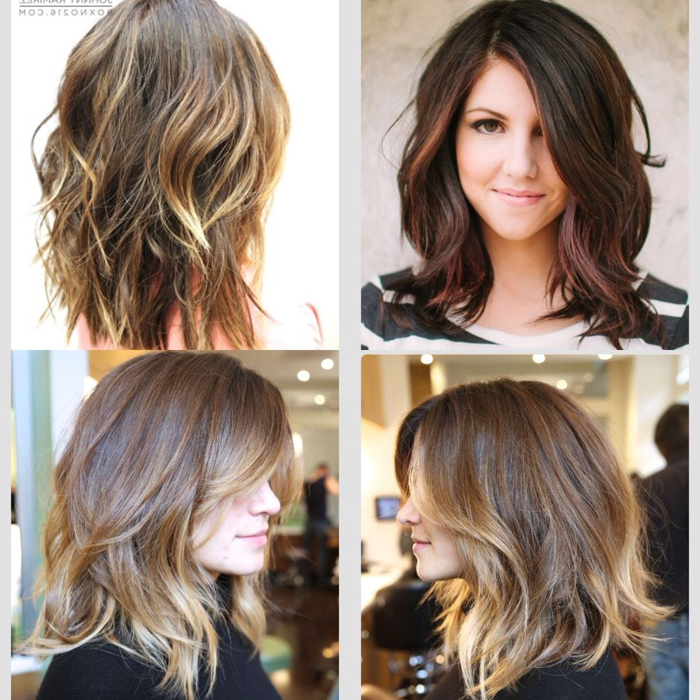 Popular Wavy Lob Hairstyles With Face Framing Highlights Throughout Summer Hair. Dark Auburn With Orange/coppery Balayage Face (Gallery 6 of 20)