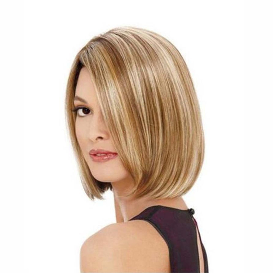 Preferred Classic Bob Hairstyles With Side Part With Short Straight Blonde Bob Hair Dark Roots Synthetic Side (Gallery 20 of 20)