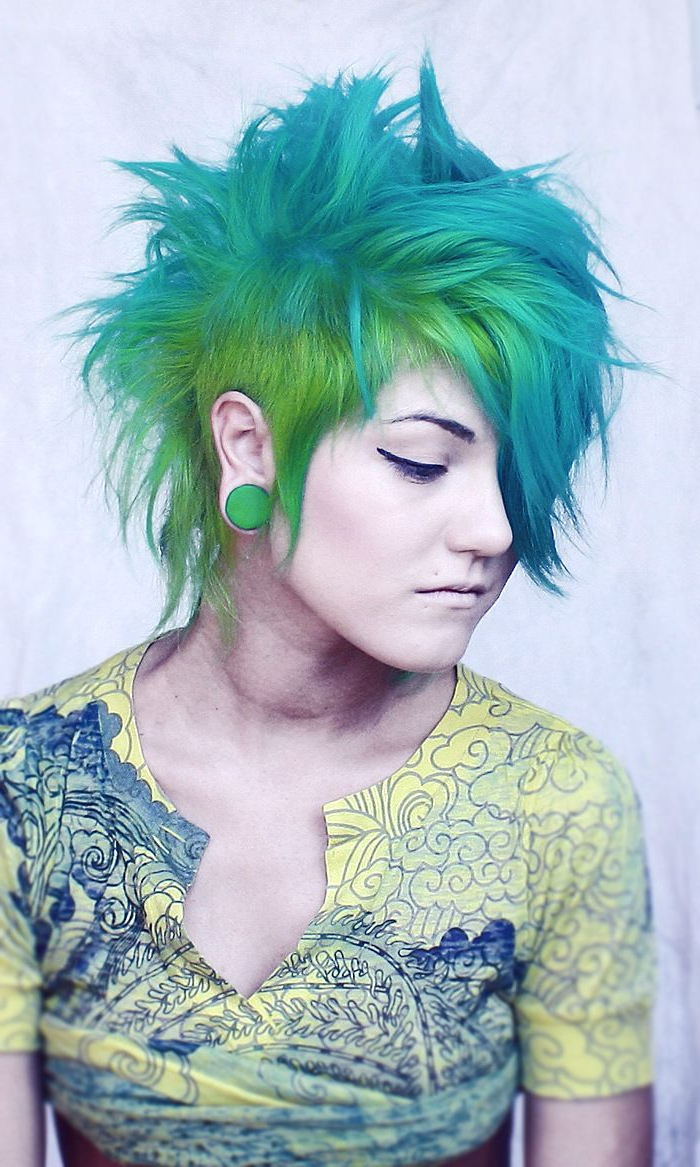 Scene Hair, Green Hair, Emo Hair (View 15 of 20)