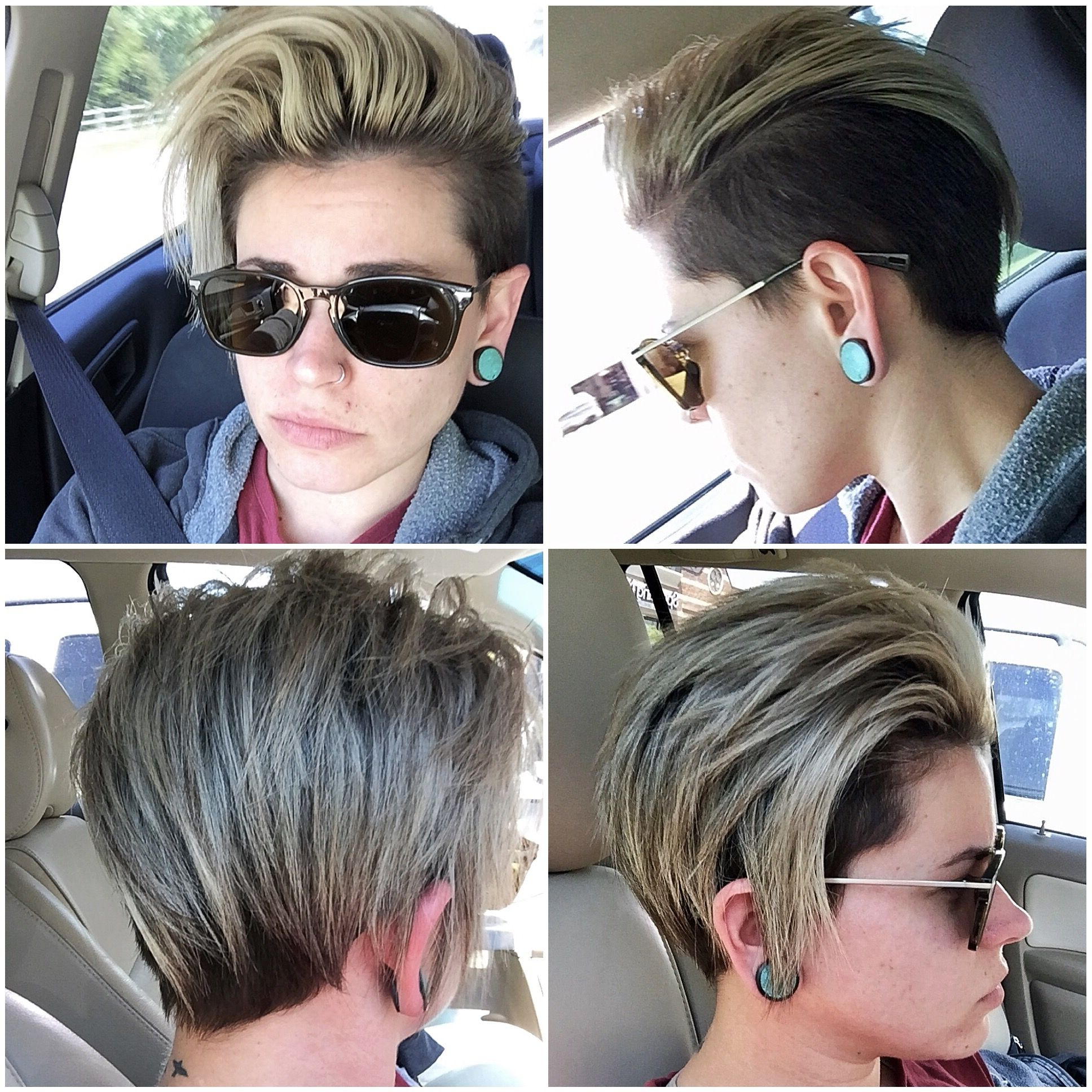 Short Lesbian Hair Undercut Man Bun Topknot Icy Summer Hair Within Widely Used Icy Purple Mohawk Hairstyles With Shaved Sides (View 2 of 20)