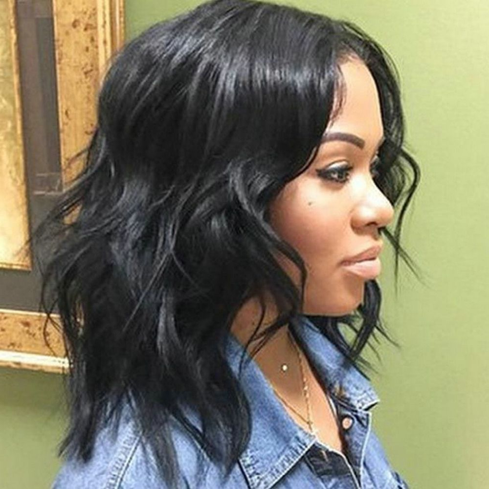 Shoulder Length Weave Hairstyles For Black Women 50 Best For Favorite Middle Parted Relaxed Bob Hairstyles With Side Sweeps (View 16 of 20)