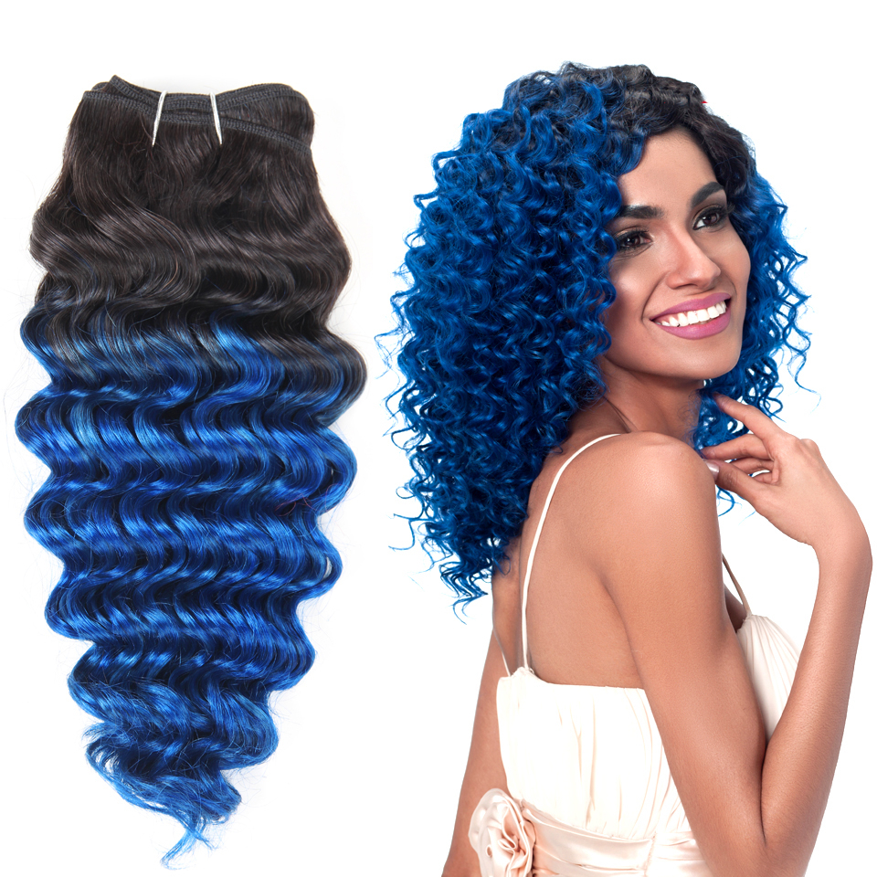 #t1b Blue Pink Purple 1 Piece Ombre Brazilian Nature Deep Wave Human Hair Inside Latest Black And Denim Blue Waves Hairstyles (View 17 of 20)