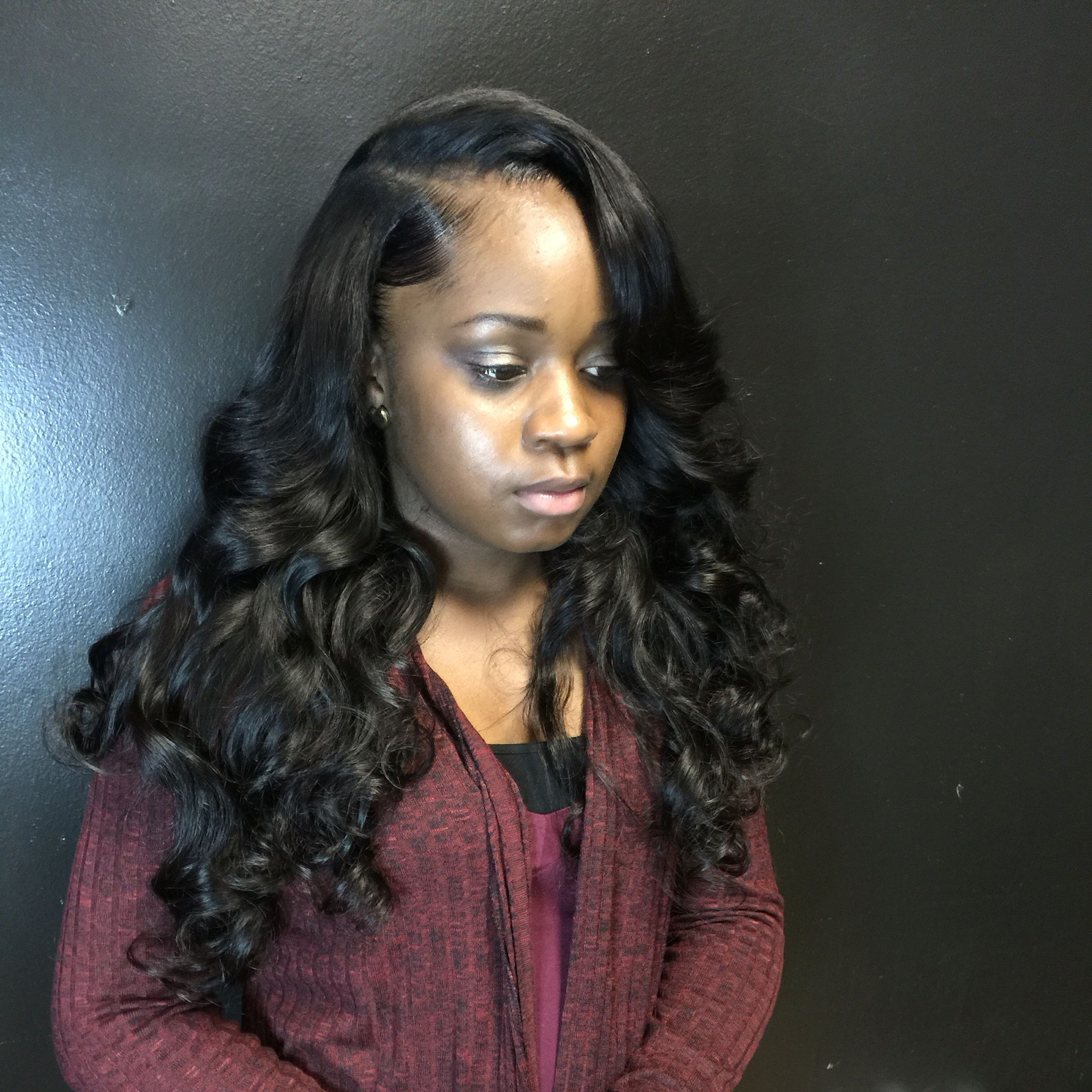 Tajia Sworld Side Part Sew In With Soft Curls Brazilian Throughout Trendy Soft Highlighted Curls Hairstyles With Side Part (View 8 of 20)